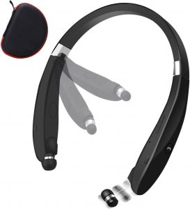 Bluetooth Foldable Retractable Headphones, 2020 Upgraded Wireless Earbuds Neckband Headset Sports Sweatproof Earphones with Carrying Case (15Hours Playtime)
