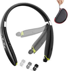 Bluetooth Headphones, BEARTWO Upgraded Foldable Wireless Neckband Headset with Retractable Earbuds